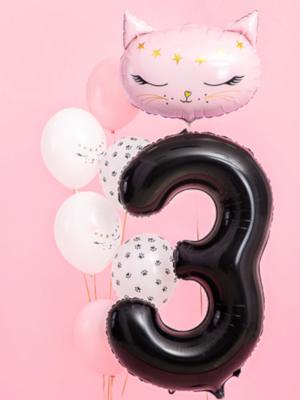Foil Balloon Number `3`, 86cm, black