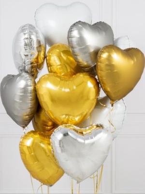 """ГЕЛИЕВЫЙ фонтан """"12 сердец"""", 45 см"""