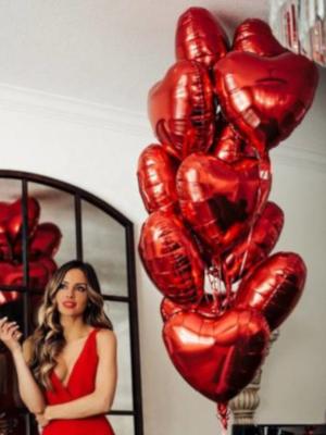15 foil heart balloons, 45 cm