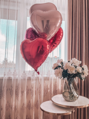 5 foil heart balloons with helium, 45 cm