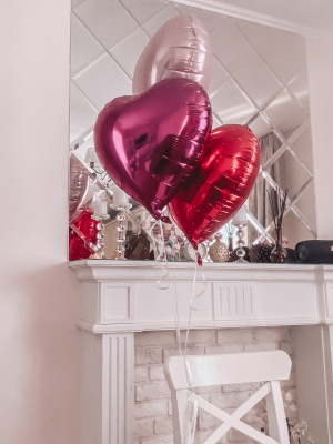 3 foil heart balloons with helium, 45 cm