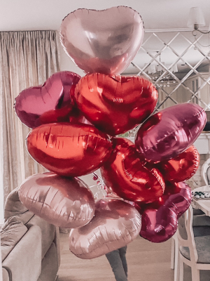 11 foil heart balloons with helium, 45 cm
