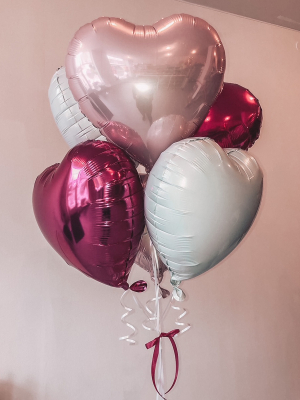 6 foil heart balloons with helium, 45 cm