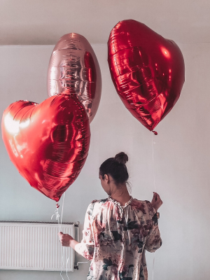 3 GIGANT foil heart balloons with helium, 72 x 73 cm