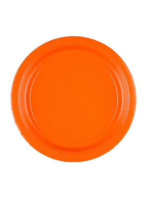 8 gab, papīra šķīvis, oranžs, diametrs 22,8 cm