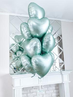 10 foil satin heart balloons