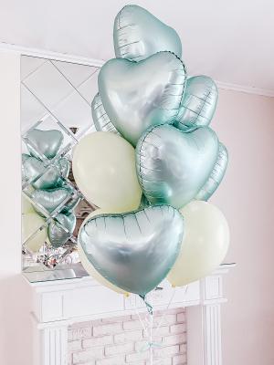 9 satin hearts + 3 latex balloons with helium