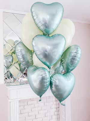 9 satin hearts + 7 latex balloons with helium