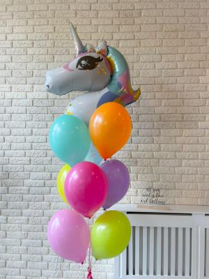 "Balloons with helium ""Unicorn + 9 latex balloon"""