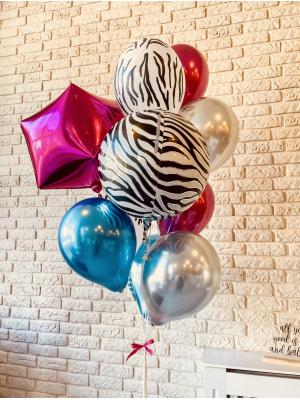 "Balloons with helium ""Cubic + Orbz Zebra + 9 balloons"""
