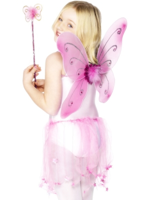 Butterfly set, pink, 42 x 38 cm