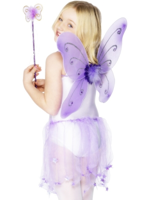 Butterfly set, purple, 42 x 38 cm