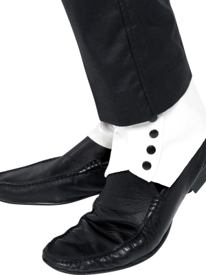 Spats white pvc with black button detail
