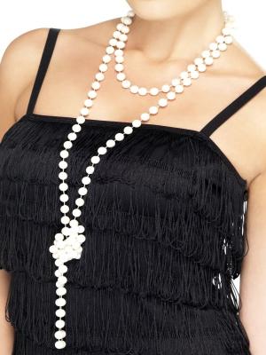 Pērļu kaklarota, balta, 180 cm