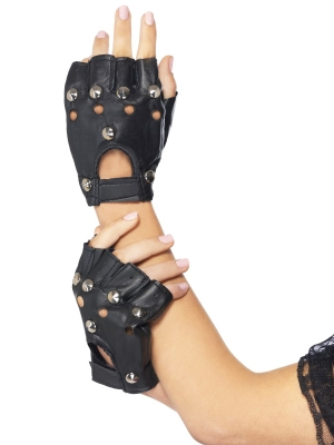 Punk gloves, black