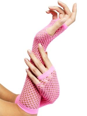 Tīkliņa cimdi, bez pirkstiem, rozā