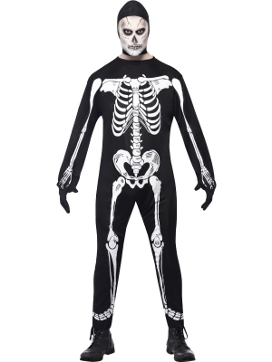 Skeleton Costume with Jumpsuit and Gloves