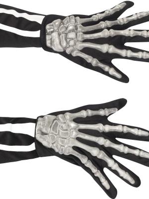 Skeleton bones gloves, black