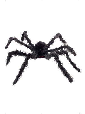 Giant Hairy Spider Black with Light-Up Eyes, 102 cm
