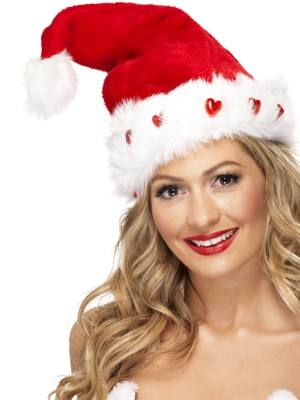 Deluxe Plush Light-Up Santa Hat Red White Fur