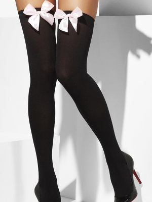 Stockings, black with bow