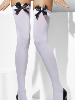 Stockings, white with bow
