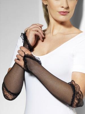 Fishnet gloves, fingerless, black