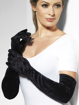 Velour gloves, black, 52 cm