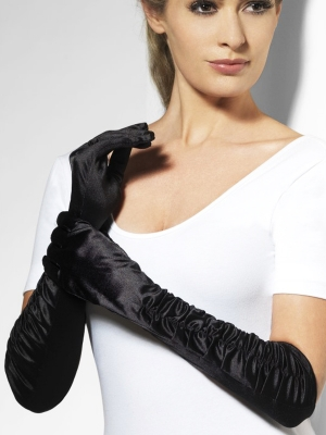 Satin gloves, black, 46 cm
