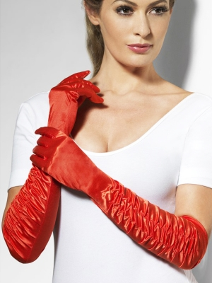 Satin gloves, red, 46 cm