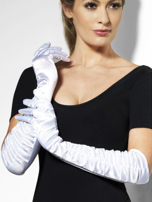Satin gloves, white, 46 cm