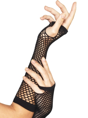 Fishnet gloves, fingerless, black