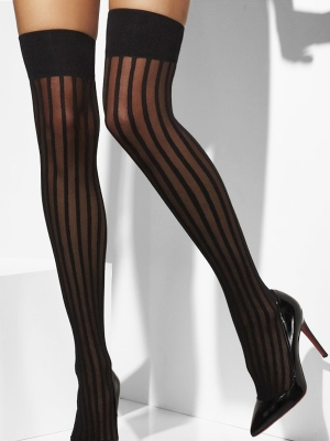 Stockings, black striped