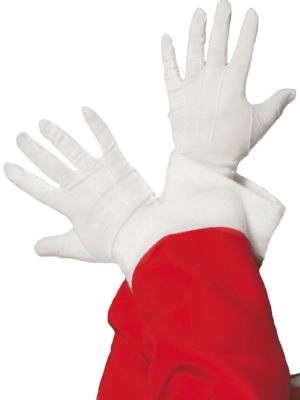 Santa Gloves White Fabric