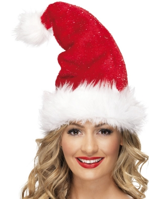Deluxe Santa Hat with Tinsel Plush Fur Trim